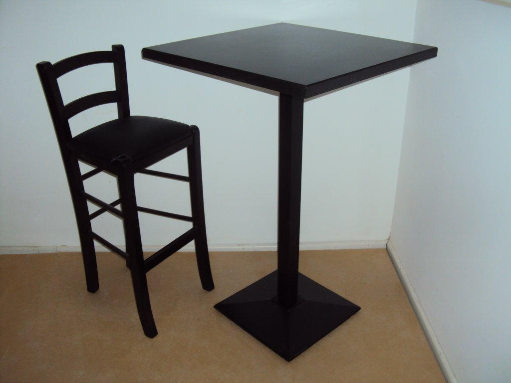 Wooden Stand High Table Cafe Bar With Cast Iron Base From