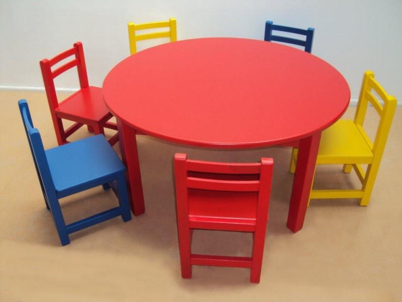 Επαγγελματικό Παιδικό Ξύλινο Τραπέζι 105€ Λάκα size (Φ110Χ54) κατάλληλο για Εξοπλισμούς παιδικών σταθμών & νηπιαγωγείων.